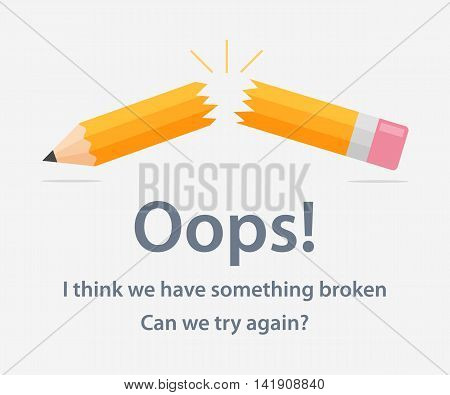 Page template with a 404 error made in flat style. The page design of the web site with the error