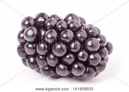 blackberry isolated on white background close-up macro.
