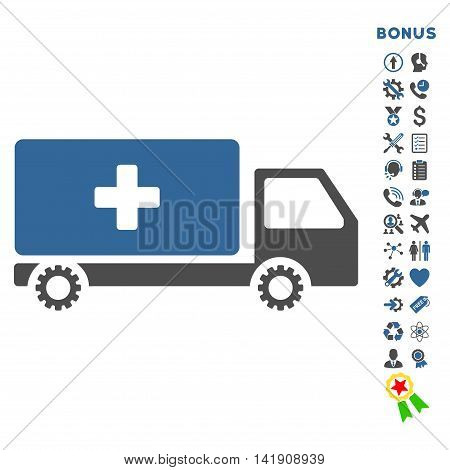 Service Car icon with bonus pictograms. Vector style is bicolor flat iconic symbol with rounded angles, cobalt and gray colors, white background.