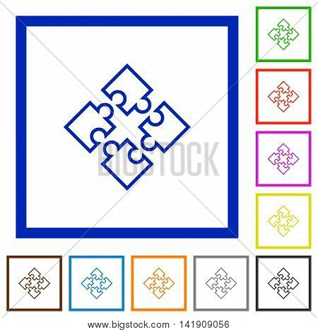 Set of color square framed puzzles flat icons