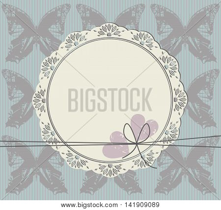 Stylish circle frame with lace ornament butterfly and two hearts. Retro frame can be used for invitation, greeting card and more designs.