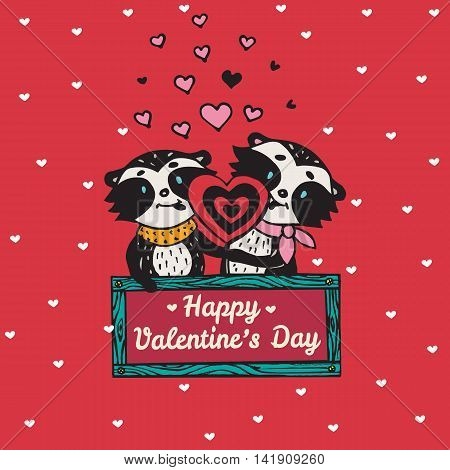 Valentines Day card with illustrated raccoon couple licking heart lollipop. Vector illustrated colorful raccoon couple on red background.