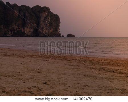 Beach at sunset sky orange, Krabi  Thailand.