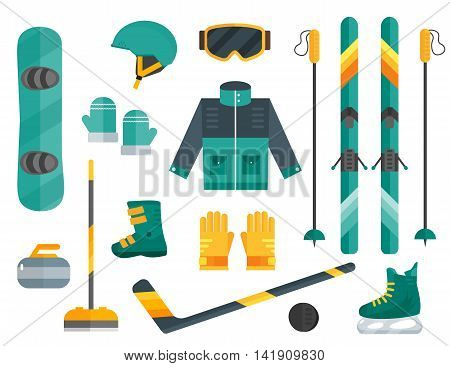Vector illustration of winter sports. Winter sports equipment set- ski curling skates clothes helmet and goggles. Extreme sport equipment set. Isolated flat elements. Flat design