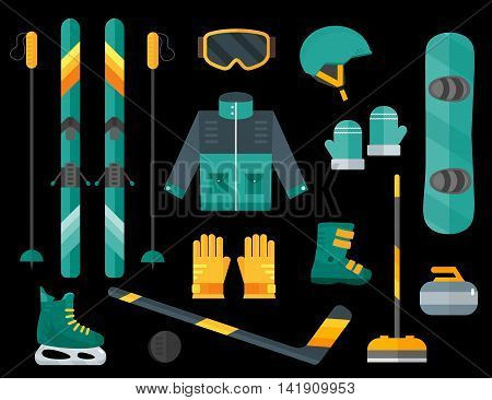Vector illustration of winter sports. Winter sports equipment set-ski curling skates clothes helmet goggles mittens and sticks.Extreme sport equipment set. Isolated flat elements.Dark background