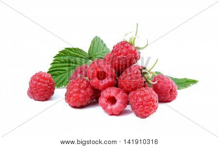 Pile of ripe raspberries isolated on a white background