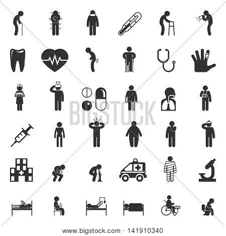 Set of sick and medical black icons isolated on white. Vector illustration