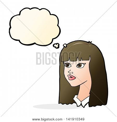 cartoon pretty girl with long hair with thought bubble