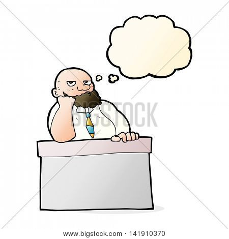 cartoon bored man at desk with thought bubble