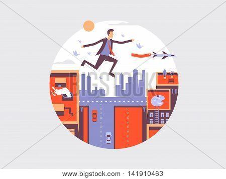 Man fly design flat. Business guy flying in air, vector illustration