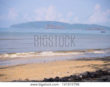 At the seaside sunshine, beautiful landscape at seaside, Krabi  Thailand.