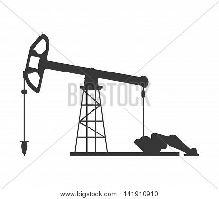 flat design single pumpjack icon vector illustration