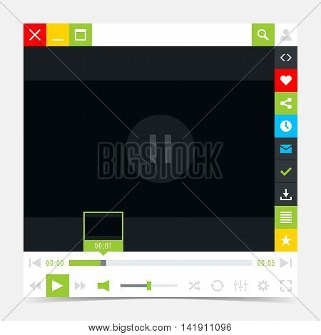 Media player interface with video loading bar and additional movie buttons. Variation 03 green . Simple solid plain flat tile. Minimal metro cute style. Vector illustration web design element 8 eps