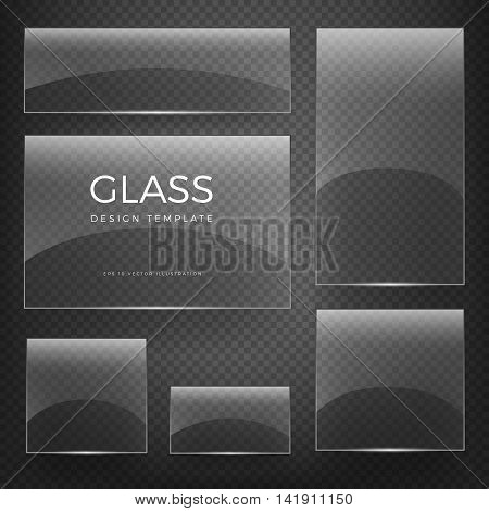 Transparent vector glass blank vertical and horizontal glossy empty banners on checkered background