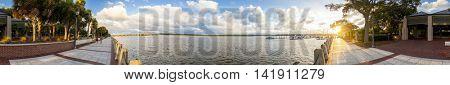Seamless 360 degree panorama of Beaufort, South Carolina waterfront
