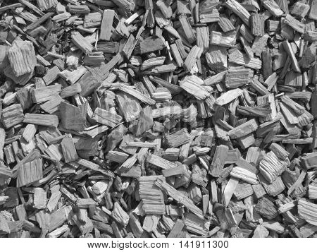 Closeup of wood chippings for backgrounds and fills (black and white)