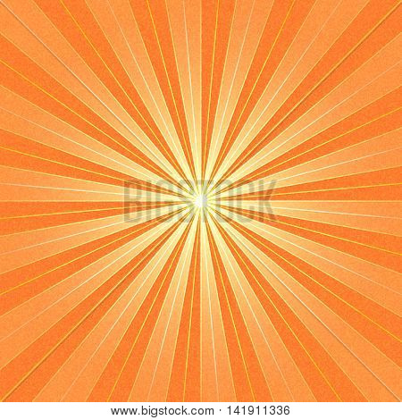 Orange sunbeam blank background. Yellow sunburst with noise effect texture. Empty retro empty vintage abstract backdrop. Template swatch in square format. Vector illustration design element 10 eps