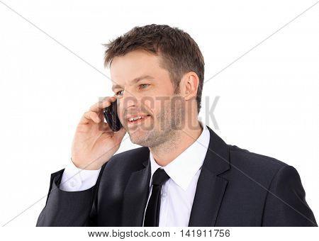 Portrait of a confident businessman calling