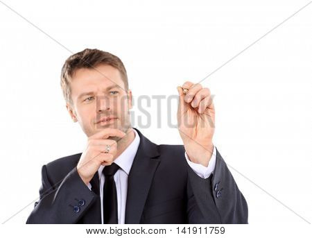 Smart business man with pen isolated on white background
