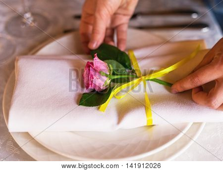 Decorating  Table With Flowers. Close Up. Wedding Concept