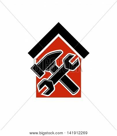 Spanner and mallet crossed, simple vector house with work tools workshop.
