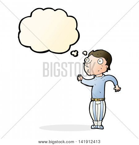 cartoon man in loud clothes with thought bubble