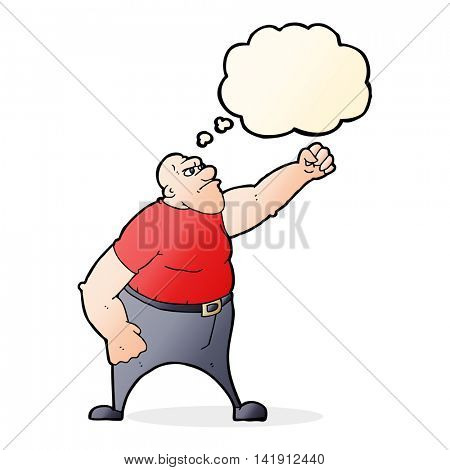 cartoon angry man with thought bubble