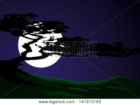 Silhouette of a tree on a background of the moon. Vector illustration.