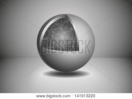 Gray Abstract 3D sphere. Abstract vector illustration.