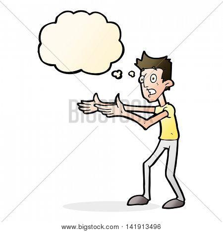 cartoon man desperately explaining with thought bubble