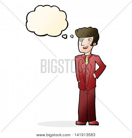 cartoon upperclass man with thought bubble