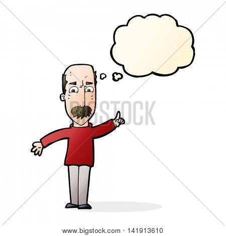 cartoon man issuing stern warning with thought bubble