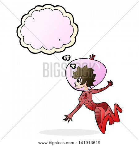 cartoon space woman with thought bubble