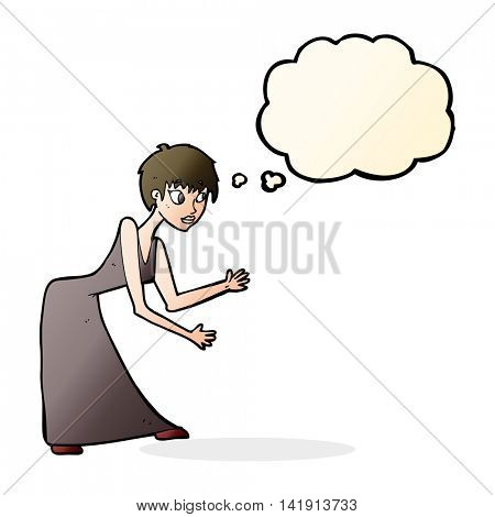 cartoon woman in dress gesturing with thought bubble