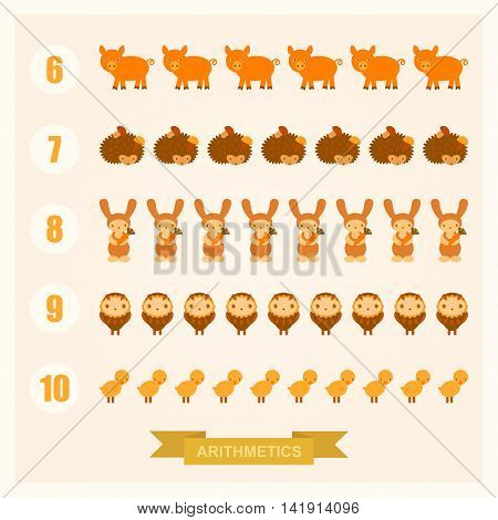 vector arithmetic illustrations for children with images of a pig, rabbit, chicken, hedgehog and owl