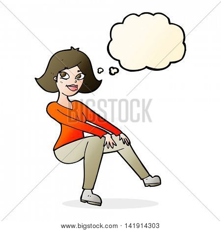 cartoon happy woman sitting with thought bubble