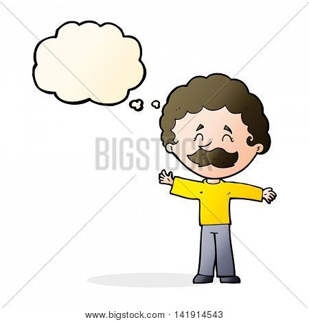 cartoon boy with mustache with thought bubble