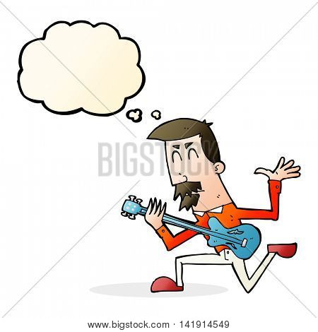 cartoon man playing electric guitar with thought bubble