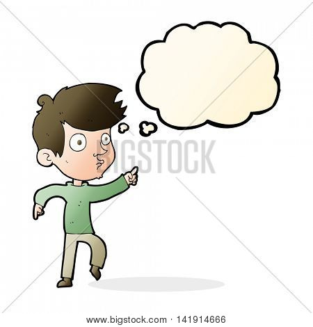 cartoon pointing boy with thought bubble