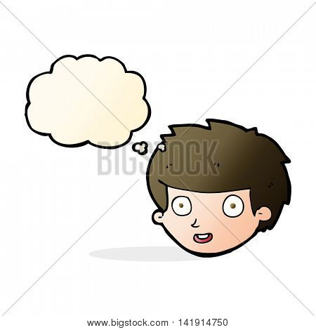 cartoon happy boy's face with thought bubble
