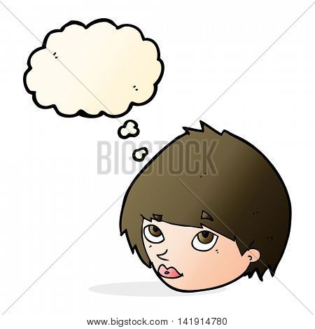 cartoon female face looking up with thought bubble