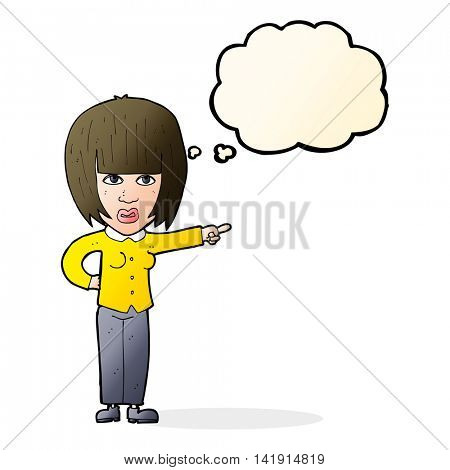 cartoon pointing annoyed woman with thought bubble
