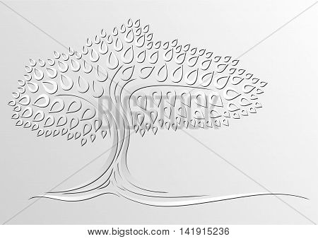 Tree silhouette on a grey background. Vector illustration.