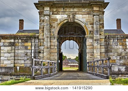 Arched Entrance to Fort Washington, a Military fort established in the 1800's to protect Washington DC situated on the Maryland coastline of the Potomac River