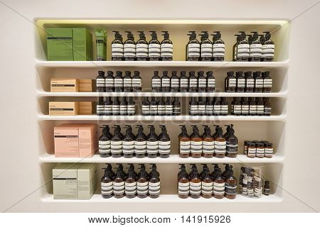 HONG KONG - CIRCA JANUARY, 2016: inside of Aesop store at Elements shopping mall. Aesop is a brand of skin care products from Australian company Aesop Retail Pty Ltd.