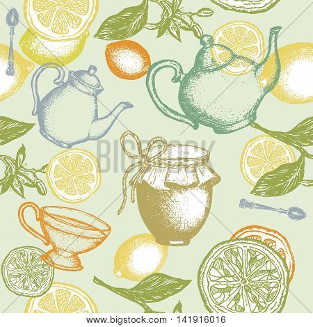 Tea seamless pattern teapot lemon jam jar hand drawn ink vector
