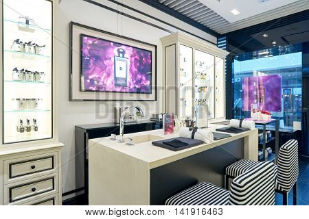 HONG KONG - CIRCA JANUARY, 2016: inside of Jo Malone store in Hong Kong. Jo Malone London is known for its expensive perfumes, luxury candles, bath products, and room scents.