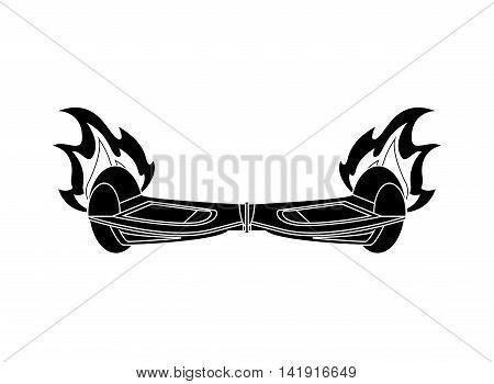 flat design horverboard in flames icon vector illustration