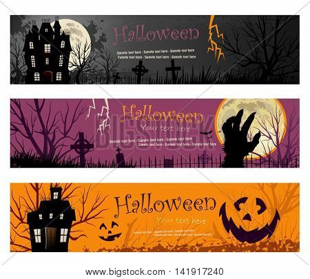 Three Halloween Banners vector illustration copy space