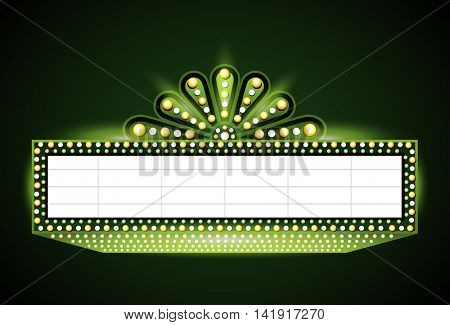 Brightly theater glowing green retro cinema neon sign